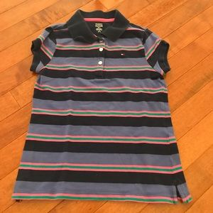Tommy Hilfiger stripes polo shirt. Size M(8-10)
